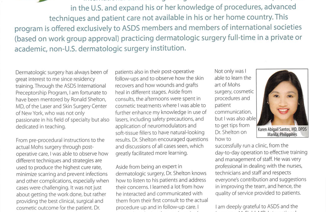 LaserNY Dermatology Article on the ASDS International Preceptorship program