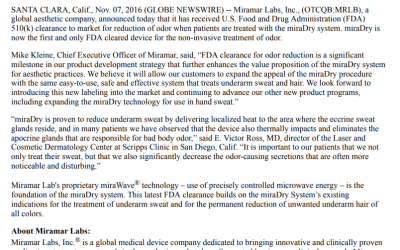 Miramar Labs, Inc.® Receives US FDA 510(k) Clearance for Reduction of Odor