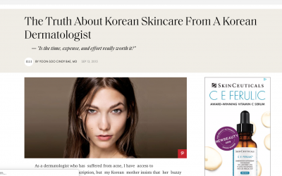 Yoon-Soo Cindy Bae, M.D., featured in ELLE magazine: The Truth About Korean Skin, From A Korean Dermatologist.