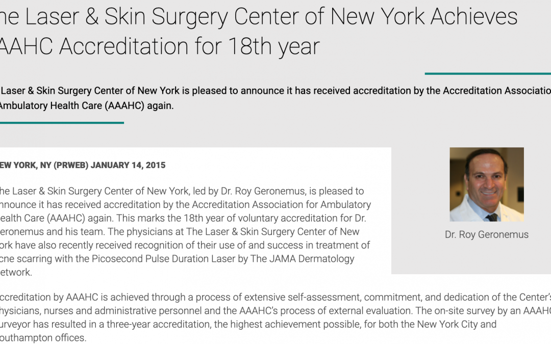 article about laser dermatology certification in new york