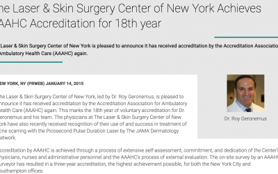 The Laser & Skin Surgery Center of New York Achieves AAAHC Accreditation for 18th year!