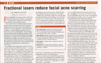 Jeremy A. Brauer, M.D., and The Research Department featured in Dermatology News