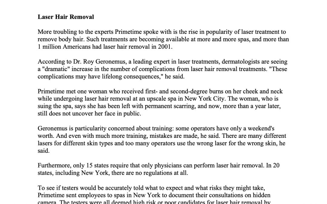 laser hair removal article in new york