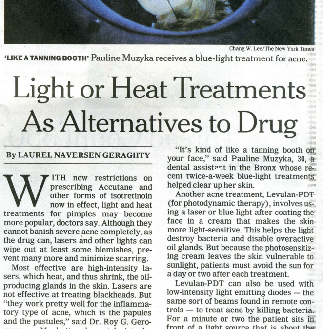 light and heat skin treatment article in new york