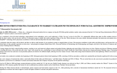 ULTHERA RECEIVES FIRST-EVER FDA CLEARANCE TO MARKET ULTRASOUND TECHNOLOGY FOR FACIAL AESTHETIC IMPROVEMENT