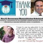 Congratulations to Caleb Lyon, the 2018 recipient of the Roy G. Geronemus, M.D., Humanitarian Scholarship!