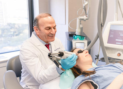 Dr. Geronemus performing a fractional laser treatment on a patient in NYC, NY