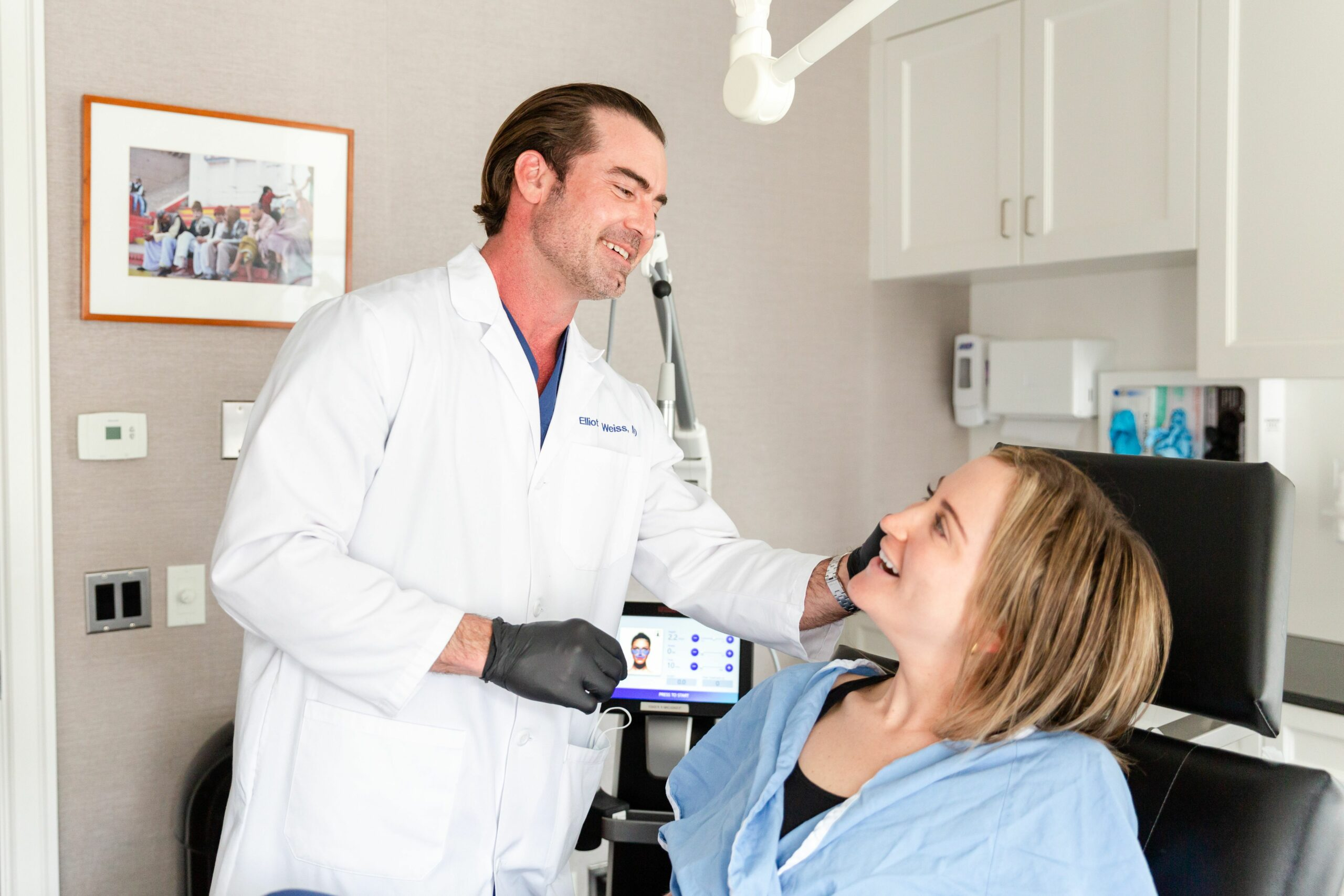 Dr. Weiss with a patient interested in a Morpheus8 treatment in New York City