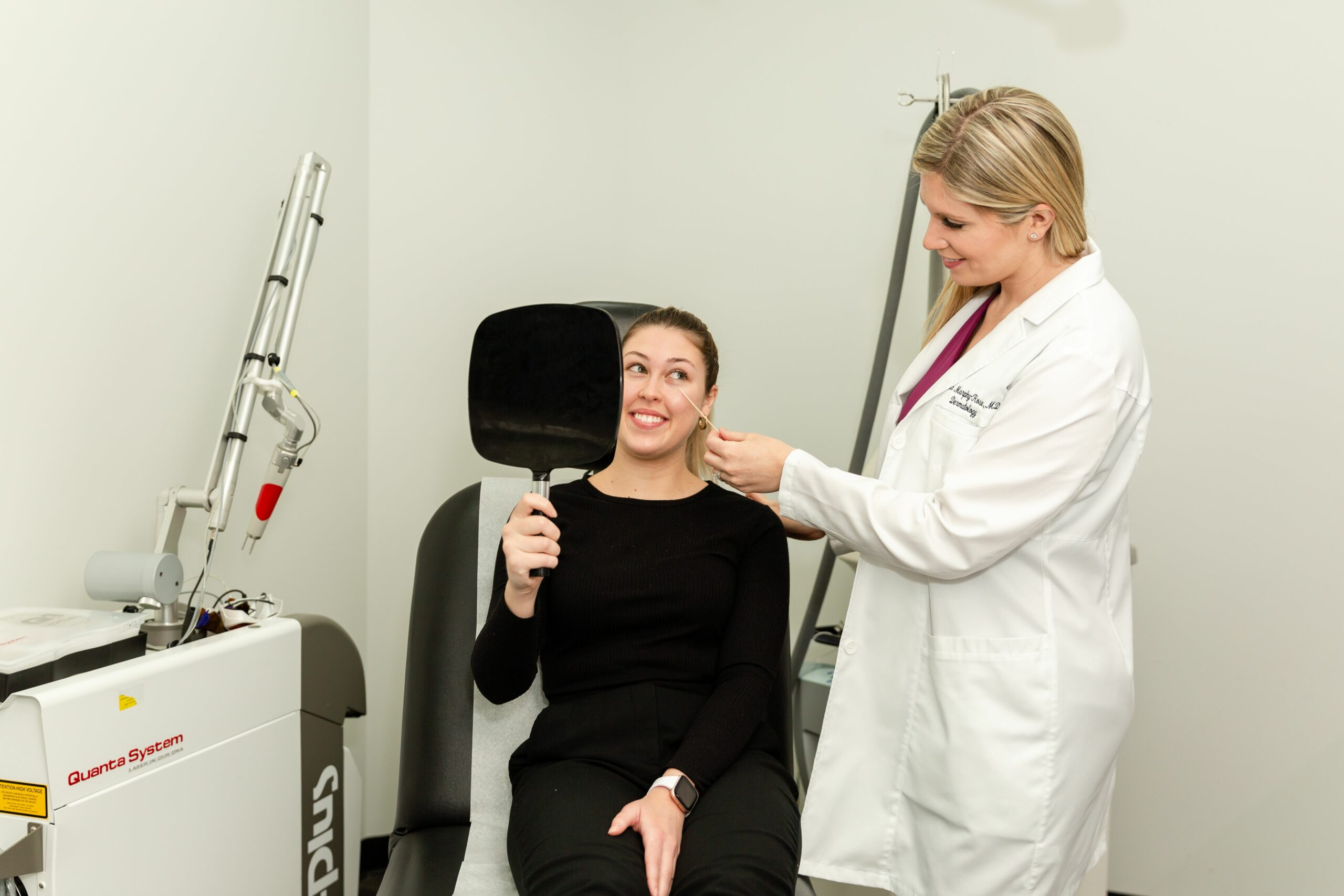 dermatologist consulting with a patient who is interested in Sofwave skin tightening in NYC, NY