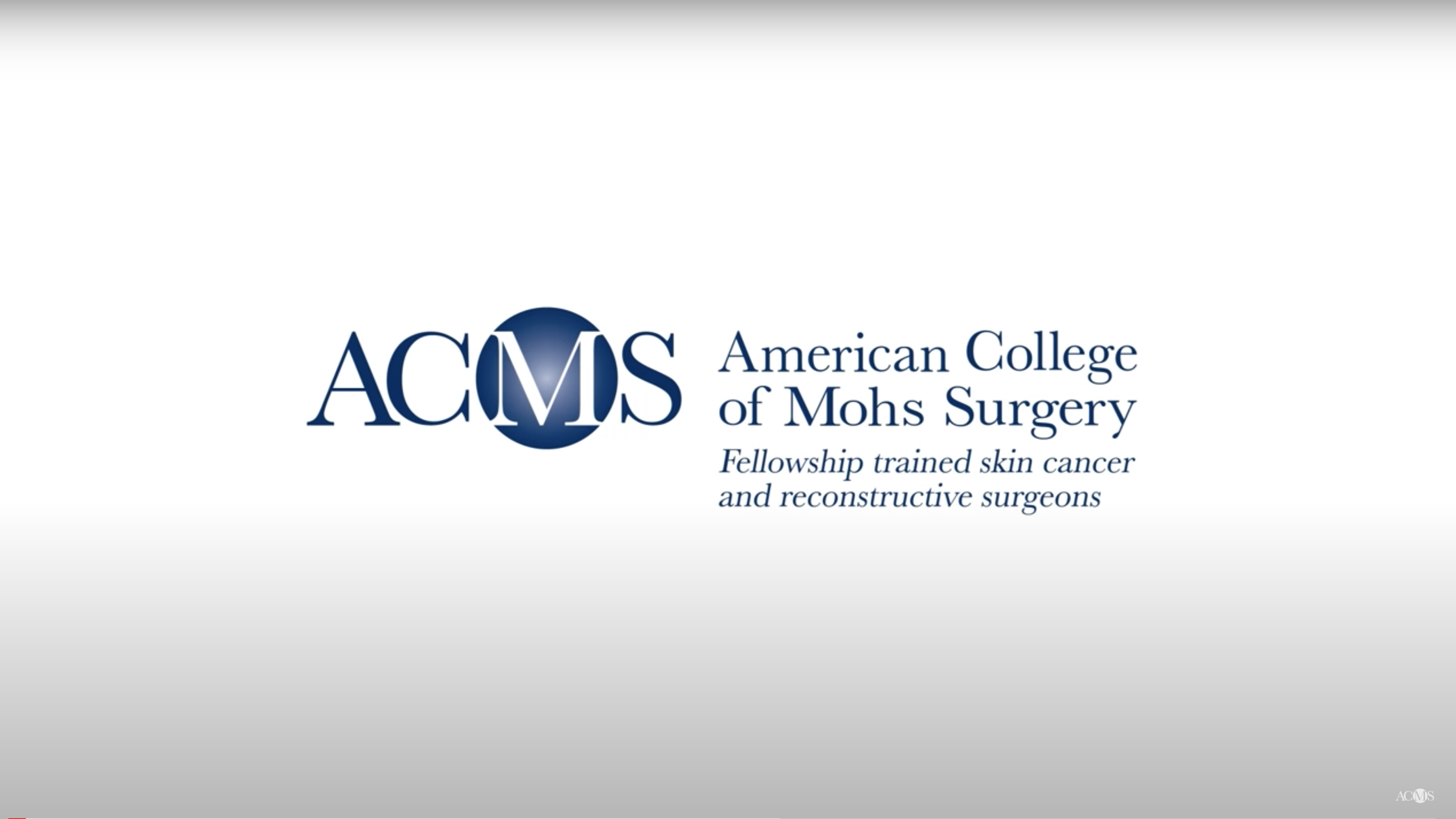 Screenshot of American College for Mohs Surgery Logo from their YouTube channel.