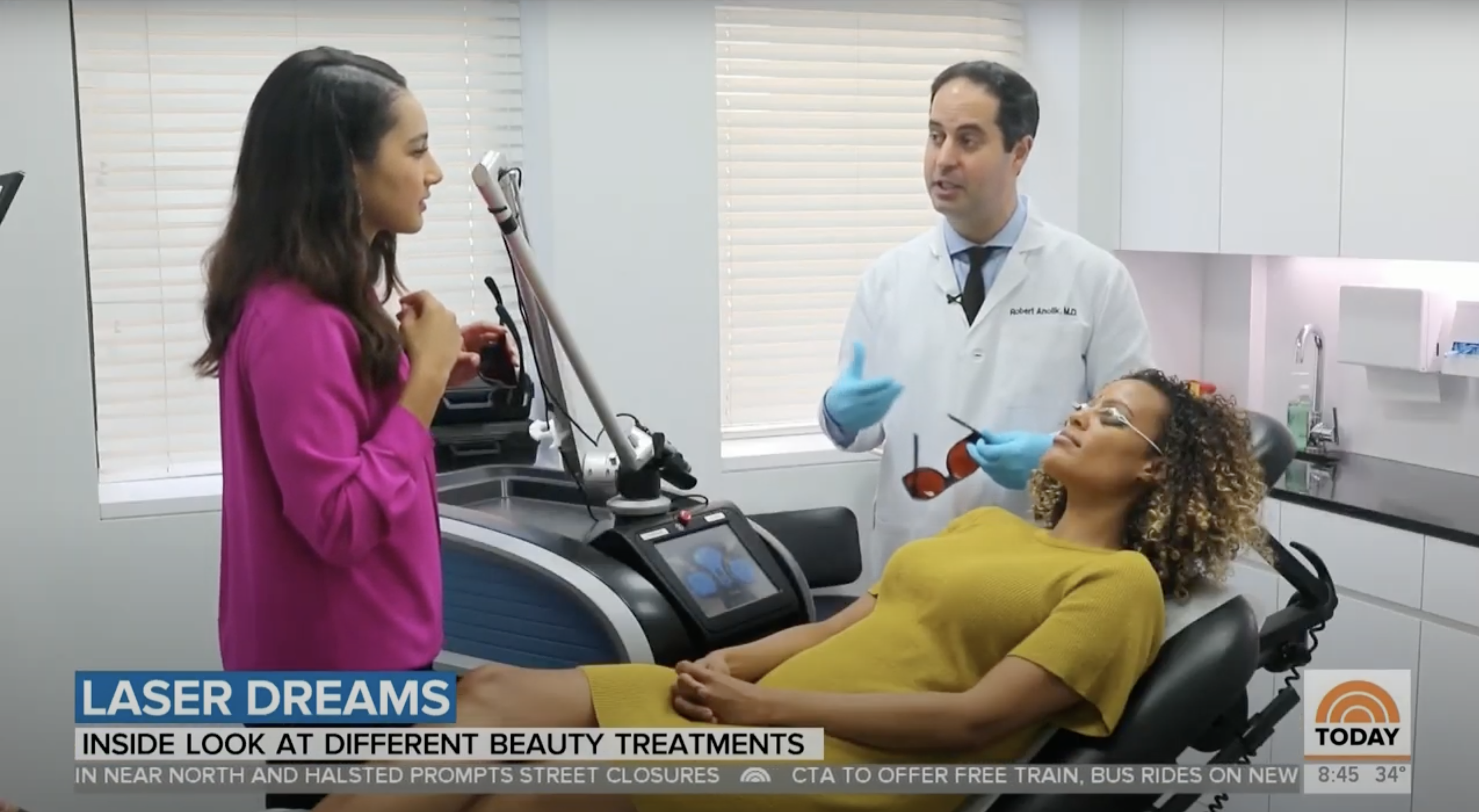 Dr. Robert Anolik is featured on NBC's Today Show to discuss the possibilities of laser skin treatments, NYC, NY.